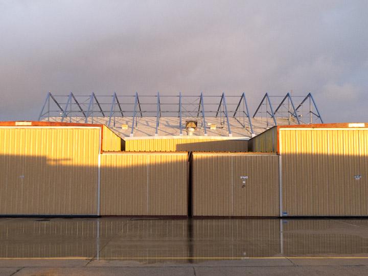 Puddles at the Port-A-Port hangars, Oakland North Field, KOAK, California