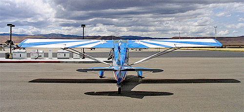 Super Decathlon N411DW at the fuel pumps, Tracy